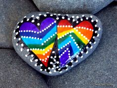 rainbow love / painted rocks / painted stones / rainbow hearts / love always wins / somewhere over the rainbow / valentines / roygbiv / by LoveFromCapeCod on Etsy