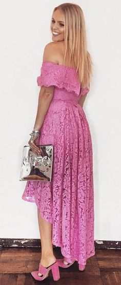 #fall #outfits women's pink floral strapless maxi dress