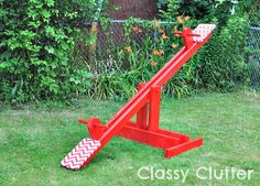 Build a DIY Kid's Seesaw for under $30 - This would be a great Christmas gift! Only takes about 2 hours to build for beginners!