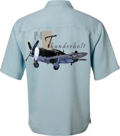 Airplane Shirt- World War II - Men's Aviation Shirt- P-47 Thunderbolt in Light Blue