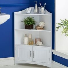 VonHaus Bathroom Corner Shelves Storage Cabinet Unit with 2 Doors and Chrome Handles - Classic White Floor Standing Furniture (Includes All Hardware) Storage Bench With Baskets, Diy Storage Bench, Corner Storage, Corner Shelves, Corner Cabinets, Bathroom Corner Shelf, Bathroom Storage Shelves, Bathroom Colors Brown, Ikea Hack Bathroom