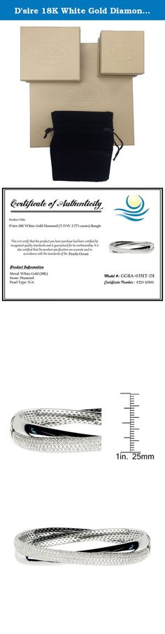 D'sire 18K White Gold Diamond (T.D.W 2.773 carats) Bangle. This beautiful bangle features a cross design set with an exquisite round cut diamond accent. The bangle comes in your choice of 18-karat white gold overlay with a white diamond. Use it to spruce up your professional attire and add a bit of confidence during your next big presentation at the office.All carat weights and measurements are approximate and may vary slightly from the listed dimensions.