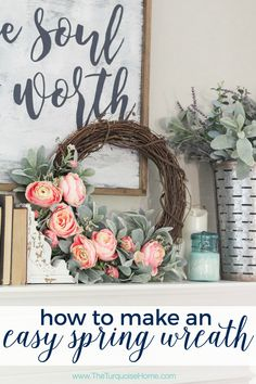 This DIY spring wreath with lamb's ear and peonies is seriously the easiest craft you'll do this season! I'm joining 14 of my blogging friends and sharing our favorite DIY spring wreaths today. They are all simply gorgeous!