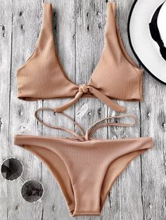 Knotted Textured Scoop Bikini Set - Camel S