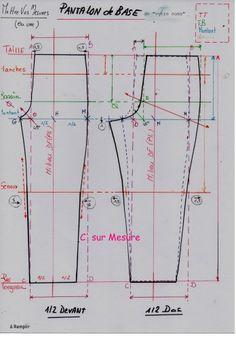 patron pantalon lagen look Techniques Couture, Sewing Techniques, Sewing Pants, Sewing Clothes, Dress Sewing Patterns, Clothing Patterns, Sewing Collars, Couture Sewing, Pattern Drafting