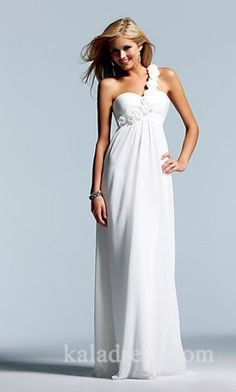 Embellished Sleeveless A-Line White Empire Long Prom Dresses Sale kaladress10017