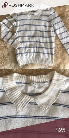 Madewell striped sweater White with blue striped sweater with faux Peter Pan collar. Nice condition. Madewell Sweaters Crew & Scoop Necks