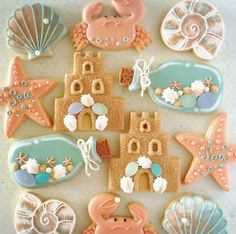 Very cute cookies! Summer Cookies, Fancy Cookies, Iced Cookies, Cute Cookies, Cupcake Cookies, Owl Cookies, Brookies Cookies, Galletas Cookies, Cookie Frosting