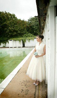 50's lace tulle tea length wedding dress $275,00