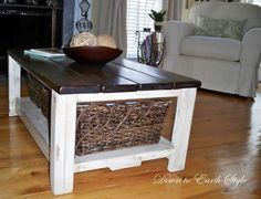 Home Coffee table with extra burlap storage - sofa decor, home furniture