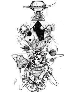 Cool art by João Godo (godo_art) Kunst Tattoos, Bild Tattoos, Body Art Tattoos, Sleeve Tattoos, Alien Tattoo, Trippy Drawings, Space Drawings, Cute Drawings, Alien Drawings