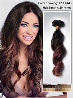 20 inches wavy two tone ombre human hair extensions clip in usw162 115g
