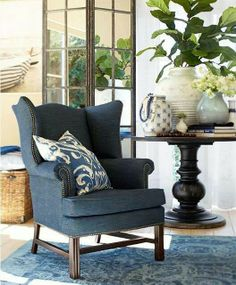 Fig branch in vase and beautiful blue chair - Pottery Barn