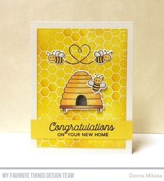 Stamps: Meant to Bee, Honeycomb Background, No Place Like Home Die-namics: Meant to Bee, A2 Stitched Rectangle STAX Set 1  Donna Mikasa #mftstamps