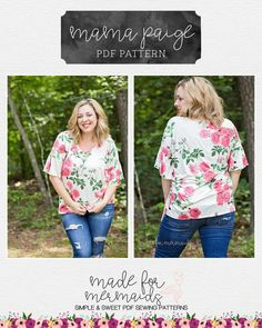 Free Plus Size Sewing Patterns – Broad in the seams Plus Size Top Pattern, Plus Size Sewing Patterns, Plus Size Tops, Clothing Patterns, Plus Size Women, Pdf Patterns, Diy Clothing, Plus Size Summer Fashion, Free Plus