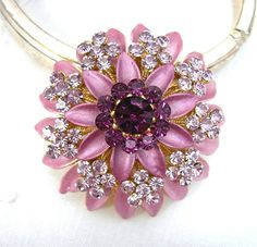 "Metal Flower Brooch, Purple Lavender Rhinestones, Enamel Cushion Mum, Tiered Enameled Petals, 1-1/2"" Wide, Vintage Costume Jewelry, c1980-90"