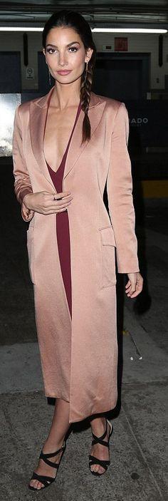 Lily Aldridge,pink coat