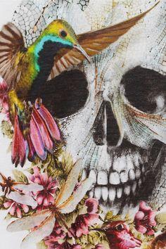 Alexander McQueen|Printed skull and flower T-shirt