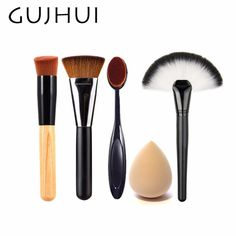 c7f52bfda8 4pcs Best Makeup Brush Set Powder Foundation Travel Cosmetic Brushes  Contouring Fan Makeup Brush Tools With Sponge Puff  86764-in Eye Shadow  Applicator from ...