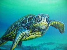 acrylic paintings of sea turtles   sea turtle acrylic Paintings   turtle close up Art Prints by jennifer ...