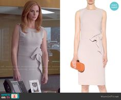 Donna's sleeveless dress with front ruffle on Suits. Outfit Details: https://wornontv.net/59403/ #Suits