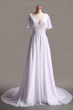 Robe de mariée trapèze classique de grande manche courte en en V avec traîne - Noradress