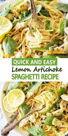 Lemon Artichoke Spaghetti recipe is perfect any night of the week. This simple recipe uses everyday ingredients for a meatless dish that is light and tasty! #easyrecipe #spaghettirecipes @sweetcaramelsunday Lemon Recipes Easy, Yummy Pasta Recipes, Easy Dinner Recipes, Wine Recipes, Vegetarian Recipes, Easy Meals, Noodle Recipes, Pizza Recipes, Delicious Recipes