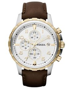 Fossil Watch, Men's Chronograph Dean Brown Leather Strap 45mm FS4788 - Men's Watches - Jewelry & Watches - Macy's