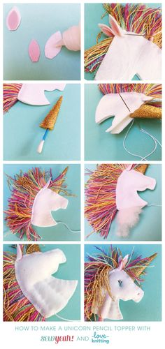 Writing will never be the same again once you've made a set of these Unicorn head and butt pencil toppers. Your pencil will prance and across the page!