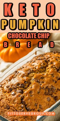 Pumpkin Chocolate Chip Bread, Keto Chocolate Chips, Pumpkin Bread, Low Carb Sweets, Low Carb Desserts, Sugar Free Desserts, Keto Recipes, Pumpkin Recipes Keto, Easy Recipes
