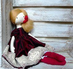 Cloth Doll Rag Doll Handmade Spain Doll Red by GabrielleJustine ♡