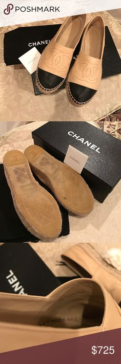 Chanel Espadrilles Lambskin Beige/Black Size 38 Beautiful Authentic Chanel Espadrilles up for grabs! These were worn a handful of times. In great condition with light signs of wear. Always worn with half socks so front was always protected. These are the double sole Espadrilles. Always sold out and very hard to find. Comes with original box, 2 dust bags and care card. Regular signs of wear on shoes. Please look at photos and ask questions. All sales final. No trades and only selling through…