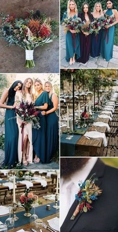 Top 10 Gorgeous Blue Wedding Color Combos for 2019 jewel tone teal blue,dark red, pink rustic chic fall wedding color inspiration - Boho Wedding Trendy Wedding, Perfect Wedding, Dream Wedding, Wedding Ideas, Decor Wedding, Wedding Rustic, Fall Wedding Inspiration, Teal Wedding Decorations, Wedding Stuff