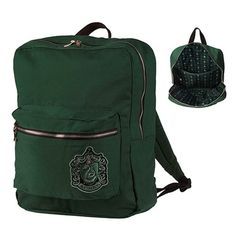 Universal Studios Harry Potter Crest Slytherin Backpack Slytherin backpack in house color featuring front crest appliqué and patterned interior lining with repeating house icon from The Wizarding World of Harry Potter™ Harry Potter Crest, Harry Potter Bag, Harry Potter Items, Harry Potter Outfits, Slytherin Pride, Slytherin Aesthetic, Slytherin House, Universal Studios, Mochila Harry Potter
