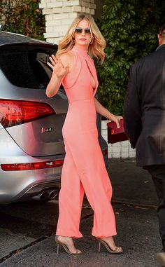 Just peachy! The actress is spotted on her way to the CFDA Vogue Fashion Fund party in Los Angeles.
