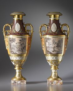 Paris Porcelain two-handled vases / Levalleur - France 1825