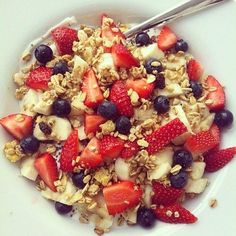Here's an example of a simple, yet healthy and delicious breakfast or snack! Toss together your favorite granola with freshly cut fruit and milk. Seasonal berries and bananas are rich with antioxidants to help keep you healthy. Granola will give you energy, and choosing a non-dairy milk with balance the meal out for optimal taste and texture. Start eating healthier today with our inspirational recipes. Better-Wellbeing.com
