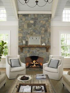 stone fireplace and lots of windows!