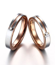 1 Pair His Her Engagement Ring Wedding Band Rose Gold Tungsten With CZ #Caperci