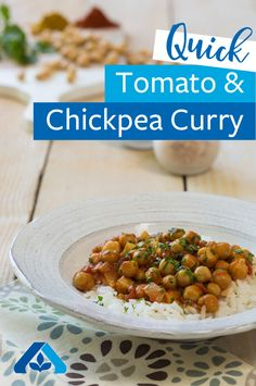 This Tomato and Chickpea Curry recipe has authentic flavors of Indian food you love! Pair with curry rice to create an exotic weeknight meal, perfectly topped with parsley and cilantro.