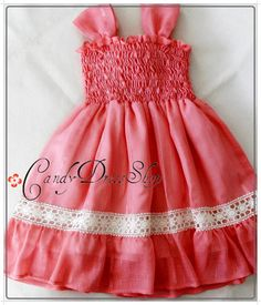Girls Coral orange dress  Organic cotton and by CandyDressShop