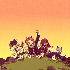 Natsu Dragneel, Erza Scarlet, Gray Fullbuster and Lucy Heartfilia #fairy tail