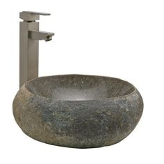 Natural River Stone Vessel Sink Probably our sinks or close to it Glass Vessel Sinks, Vessel Sink Bathroom, Sinks For Sale, Stone Bathroom, Downstairs Bathroom, Master Bathroom, Contemporary Baths, Stone Sink, Home