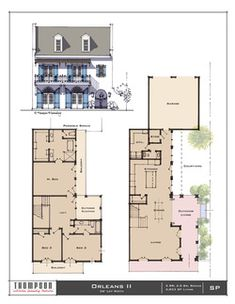 Traditional Neighborhood (TND) House designs in various styles. Vintage House Plans, New House Plans, House Floor Plans, Narrow House Designs, Architectural Floor Plans, Sims House Design, Residential Architect, House Blueprints, Cottage Design