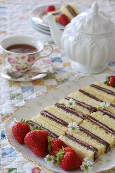 Pound Cake Tea Sandwiches - Layers of chocolate buttercream and strawberry cream cheese sandwiched between layers of pound cake
