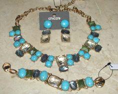 3 PC. SET: Chico's Norran Bib Necklace, Bracelet, Earrings NWT Total Retail $143 #Chicos