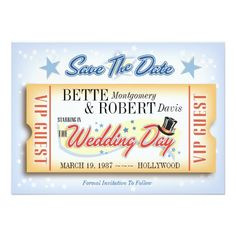 Hollywood VIP Ticket Save The Date Cards