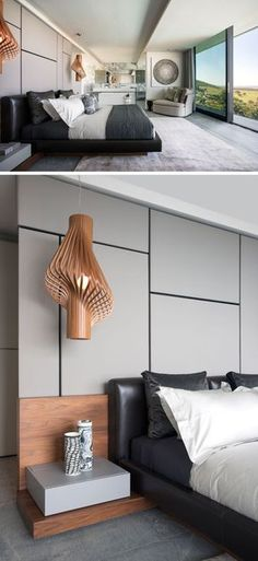 In this modern master bedroom, sculptural wood pendant lights act as bedside lamps, while the bathroom is completely open to the bedroom.