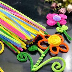 100 Pcs Plush Sticks Children's Educational DIY Materials Shilly Stick Toys Handmade Art And Craft
