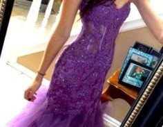 Purple Beading Appliques Prom Dresses, Charming Evening Dresses, Sexy Prom Dresses, Sweetheart Tulle Party Dress,